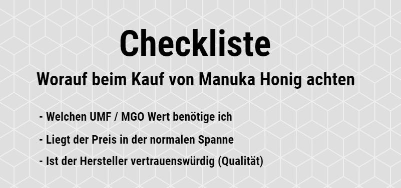 Manuka Honig kaufen Checkliste